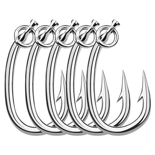 ZH1 10 Pcs Anzuelos de Pesca, Pesca Gancho de Acero al Carbono de Púas, Pesca Anzuelos para la Pesca de Agua Dulce y Salada,15/0#