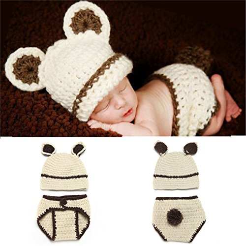 ZZHK Baby Fotografie Props Baby Fotografie Hand gemaakt Bunny Kostuums-Baby mooie jurk0-3 Maanden Baby Wit
