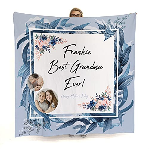 Best Grandma Ever Custom Blanket with Photo Collage, Personalised Picture Blanket, Customized Gifts for Mom Grandma Aunt for Birthday, Mother's Day, Summer Floral Design Blue Bliss Color