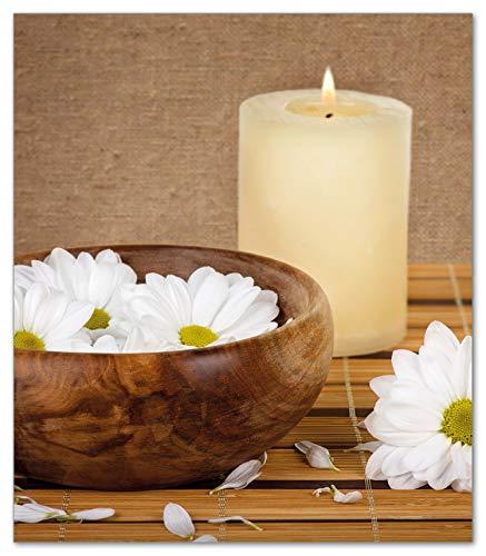 Wallario Herdabdeckplatte/Spritzschutz aus Glas, 1-teilig, 52x60cm, für Ceran- und Induktionsherde, Stillleben - Kerzen und Blumenblüten in Holzschale