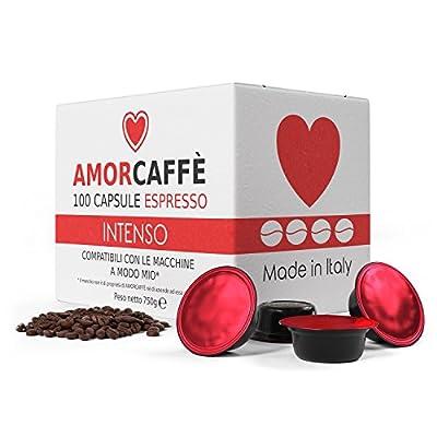 Amorcaffe 100 Lavazza A Modo Mio Compatible Coffee Capsules Pods - Intenso Taste