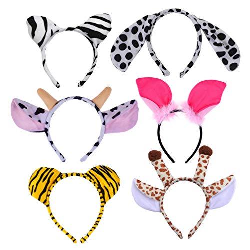 Lurrose 6 stks Dier Hoofdbanden Pluche Jungle Hoofdbanden Zebra Giraffe Hond Tijger Pig Oren Haarband Hoofddeksels Kids Verjaardag Cosplay Party Kostuum