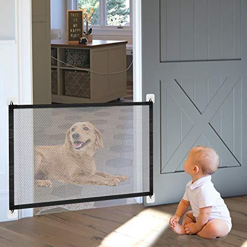 Cancello magico per cani, 110 x 72 cm, pieghevole per animali domestici, per interni ed esterni, facile da installare per cani, gatti e neonati