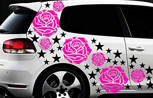 HR-WERBEDESIGN Graz Design Sticker Mural décoratif Motif Roses et étoiles 93 Sticker pour Voiture Motif Roses