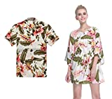 Couple Matching Hawaiian Luau Aloha Shirt Poncho Dress in Cream Rafelsia L