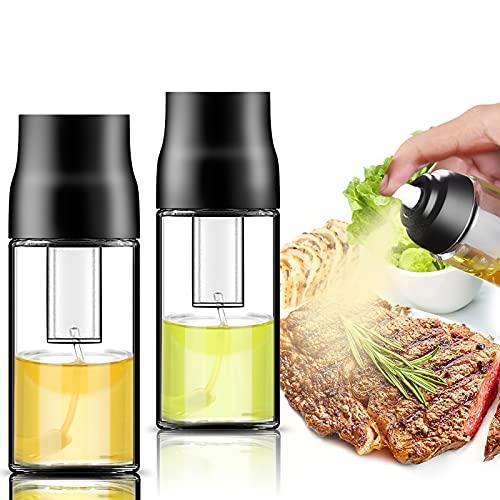 Oil Sprayer for Cooking - 2 Pack Air Pressure Oil Spray Bottle Portable Oil Dispenser Mister for Salad, Making, Baking, Frying, BBQ