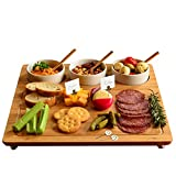 Picnic at Ascot Bamboo Cheese Board/Charcuterie Platter - Includes 3 Ceramic Bowls with Bamboo Spoons & Cheese...