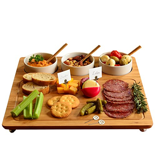 Picnic at Ascot Bamboo Cheese Board/Charcuterie Platter - Includes 3 Ceramic Bowls with Bamboo Spoons & Cheese Markers -13'x 13'- Designed and Quality Checked in the USA