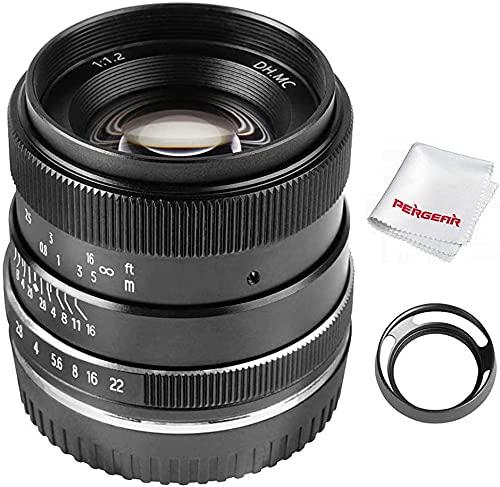 PERGEAR 35mm F1.2 大口径 単焦点レンズ 手動焦点固定レンズ Fuji X-T1 X-T2 X-T3 X-T4 X-T20 X-T30 X-Pro2 X-Pro3 X-E1 X-E2 E-E2s X-E3に対応 レンズフード同梱 (Fuji Xマウント)