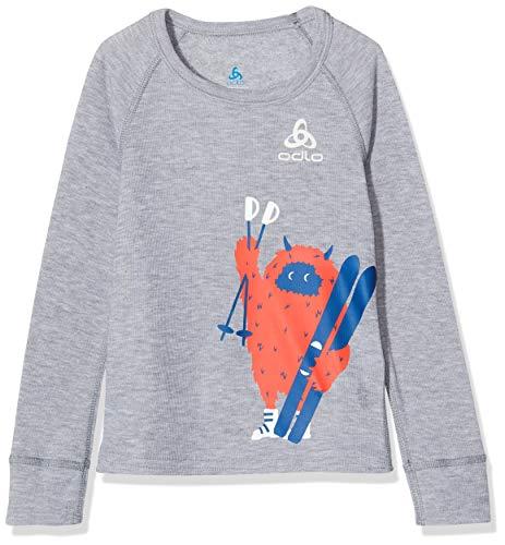 Odlo 150519 T-shirt à manches longues Mixte enfant, Mélange Gris/Placed Print Fw18, F 10 ans, (Taille Fabricant : 140)