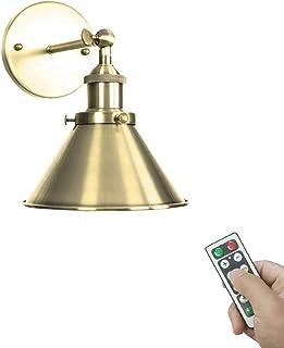 GYC 1-Light 100 Lumens Multi-Function LED Battery Run Remote Control No Cord Plating Polishing Bronze Lamp Wall Mount Ligh...