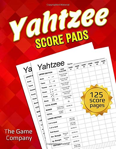 Yahtzee Score Pads: 125 Sheets for Scorekeeping - Yahtzee Score Cards with Size 8.5 x 11 inches