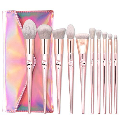Cxssxling 10 pièces Pinceau Maquillage Professionnel marbre Pinceaux de Maquillage Ensemble avec marbre cosmétiques Outils Sacs (#3)