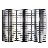 Homestyle4u 275, Paravent Raumteiler 6 teilig, Holz Schwarz, Reispapier Weiß, Höhe 175 cm