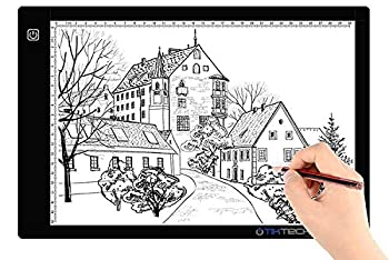 tiktecklab A4 Size Ultra-Thin Portable Tracer White LED Artcraft Tracing Pad Light Box w dimmable Brightness for 5D DIY Diamond Painting Artists Drawing Sketching Animation Black