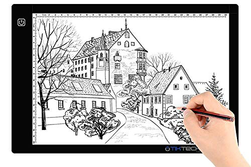 A4 Size Ultra-Thin Portable LED Light Box Tracer 7500K White LED Artcraft Tracing Light Pad Light Box w 3 Level Brightness for 5D DIY Diamond Painting Artists Drawing Sketching Animation