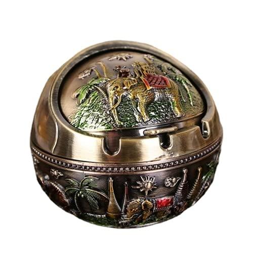 Cenicero estilo europeo retro personalidad esférico cenicero con tapa metal decoración animal hogar diámetro 10 cm
