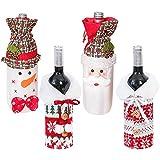 Cubierta de Botella de Vino de Navidad 4 Piezas Bolsas de Vino Tinto para Vestir Botella de Vino Reutilizables para la Cena del Hogar Decoración de la Fiesta de la Mesa Adornos de Regalo de Navidad