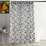 """Kuber Industries Floral Design PVC Shower Curtain with Hooks - 54""""x84"""", Grey"""