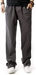 Inlefen Pantaloni Lunghi Sciolti in Lino Morbidi Estivi da Uomo Pantaloni Lunghi in Vita Elasticizzati Traspiranti di Gros...
