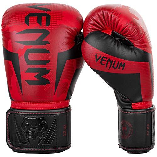 Venum Elite - Guantes de boxeo, diseño de camuflaje rojo, 12 onzas