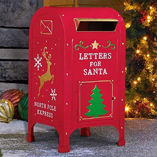 Christmas Buzón de Correo de Metal para Papá Noel, Poste exprés de Poste de Poste de Navidad, 60 cm