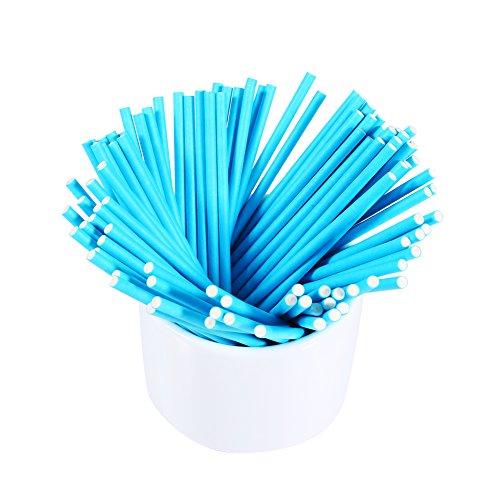 100 Stks Papier Lollipop Stick Cake Pop Chocolade Lolly Zoete Snoep Cake Houder Papier Rond Pop Stick Kleurrijk Blauw