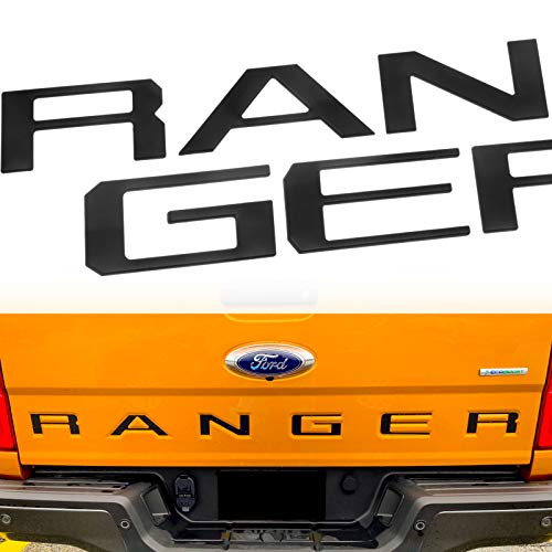 Okrex Ford Ranger Accessories Tailgate Insert Letters Compatible with Ranger Auto Safety Tailgate Letters for Ford Ranger 2019 2020 2021 3D Raised Rear Emblem Decals with Seccotine(Matte Black)