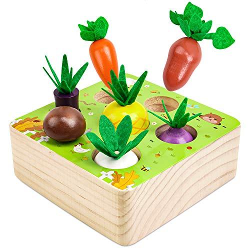 LOVEXIU Juguetes Montessori Madera,Juego 1 Años de Habilidad Motora Fina,Madera de Juego de Zanahoria para Bebe Niños Pequeños,Cumpleaños Regalo de Educativos Niños Infantiles para 2 3 4 5 Año
