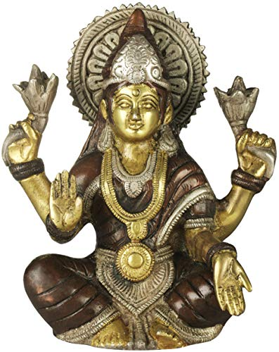 Exotic India Seated Lakshmi, The Power of Her Halo Spreading in All Directions - Brass Statue - Color Brown Silver Gold Color