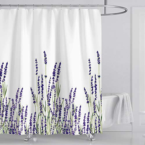 Shower Curtain Lavender Decorative Bathroom Bath Durable Waterproof Curtains Set 72 x 72 Inches with 12 Pcs Hooks
