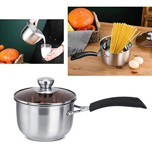 Warmte-isolerende handgreep Soepnoedels Pot, Roestvrijstalen melkpan, Huishoudelijke keuken Roestvrij staal Warmte-isolerende handgreep Soep Noddles-pot met glazen deksel(14CM)