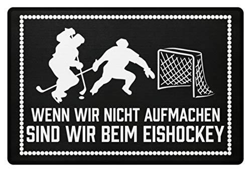 shirt-o-magic Eishockeyfan: .sind wir beim Eishockey - Fußmatte -60x40cm-Schwarz
