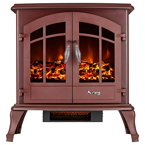 e-Flame USA Jasper Freestanding Electric Fireplace Stove Heater - Realistic 3-D Log and Fire Effect (Red)