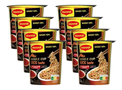 Maggi Magic Asia Duck Noodle Cup, Instant-Nudeln mit Enten-Geschmack, leckeres Fertiggericht im praktischen Becher, mit Gemüse verfeinert, 8er Pack (8 x 63g)