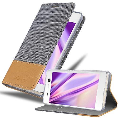 Cadorabo Hülle für Sony Xperia M5 - Hülle in HELL GRAU BRAUN – Handyhülle mit Standfunktion & Kartenfach im Stoff Design - Hülle Cover Schutzhülle Etui Tasche Book