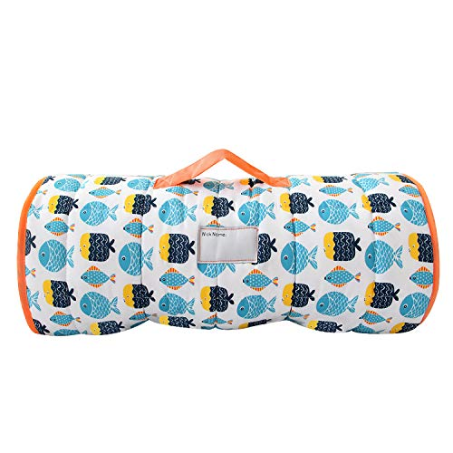 Biloban Toddler Nap Mat with Pillow and Blanket, Fleece 50 x 21 x 1.5 Super Soft and Warm, Children's Sleeping Bag with Removable Pillow for Preschool, Roll up Bed for Boys and Girls. Fish
