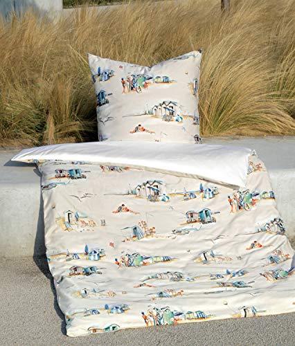 Janine Design Mako-Satin Bettwäsche modern Art 42074-02 Marine Sand 1 Bettbezug 135 x 200 cm + 1 Kissenbezug 80 x 80 cm