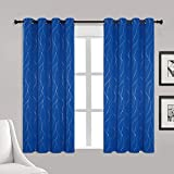 ✔️PACKAGE INCLUDE: 2 panels decorative blackout curtains with 2 matched tiebacks.Each panel measures 52W×54L with 8 silver anti-rust grommets (1.6 inch inner diameter) ✔️ELEGANT DESIGN: BUHUA blackout panels charming designed silver wave line and dot...