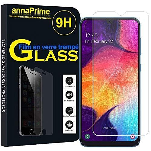 """annaPrime® 1 Film Vitre Verre Trempé de Protection d'écran pour Samsung Galaxy A50 SM-A505F 6.4"""" - Transparent"""