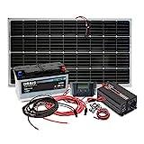 500W AC durch Wechselrichter mit modifizierter Sinuswelle 1 x 100W Solarpanel Monokristallin (ohne Halterungen) - LxBxH: (1190 x 540 x 35) mm 1 x 10A MPPT Laderegler mit fortschrittlicher Maximum Power Point Tracking Technologie 1 x 110Ah zyklische S...