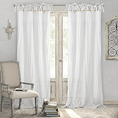 Elrene Home Fashions Crushed Semi-Sheer Adjustable One Window Panel, 52  x 95 , White