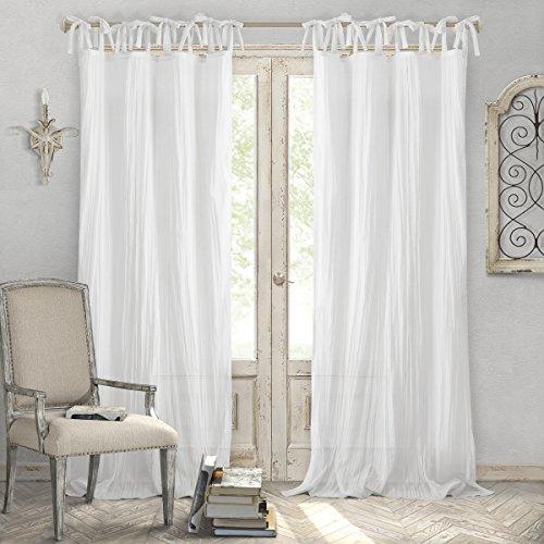 Elrene Home Fashions Crushed Semi-Sheer Adjustable Tie Top Single Panel Window Curtain Drape, 52' x 84' (1, White