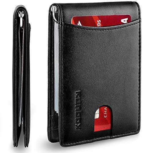 RUNBOX Minimalist Slim Wallet for Men with Money Clip RFID Blocking Front Pocket Leather Mens Wallets(Black)…