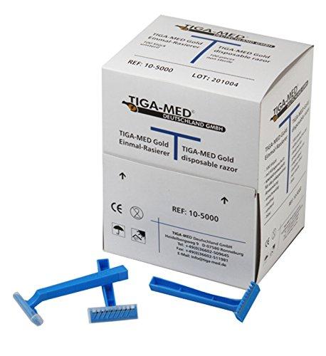 Rasierer Einmal Tiga Gold einschneidig blau 100 Stück Einwegrasierer OP Einmalrasierer Klinikqualität