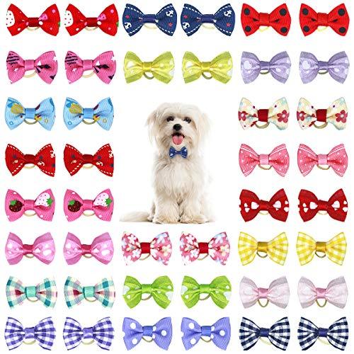 Netspower Hunde Haarschmuck Schleife Kopfschmuck, 50Pcs Haarnadel Haustiere Hundehaare Bögen Zubehör Pet Schmetterling Haarspange mit Gummibändern