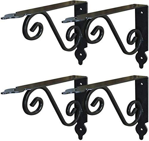 LEWINO Decorative Shelf Brackets 7 Inch Black Rustic Cast Iron Wall Brackets Set of 4 for Floating Shelves
