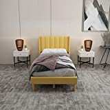 Upholstered Platform Bed Frame Twin Size with Headboard and Footboard/Wooden Slats Support/No Box Spring Needed/Easy Assembly,Yellow