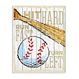 Stupell Industries Hit Hard Run Fast Turn Left Baseball Sports Word, Design by Artist The Saturday Evening Post Wall Art, 13 x 19, Wood Plaque