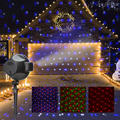 PEIDUO LED Party Projector Plug Powered with RGBW Spots Snow Fall, Multi Function Anamated Falling Snow Projector for Indoor Outdoor Holiday Party Décor,Landscape Lights for Home Yard Garden